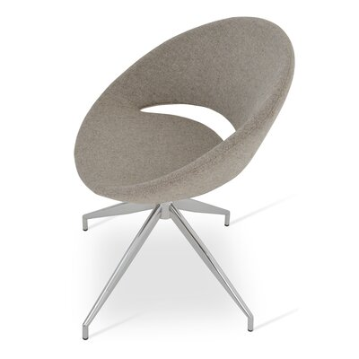Crescent Spider Swivel Side Chair in Camira Wool - Beige