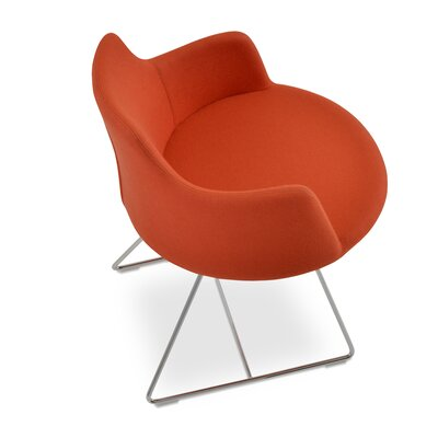 Dervish Wire Chair Upholstery: Leatherette - Orange