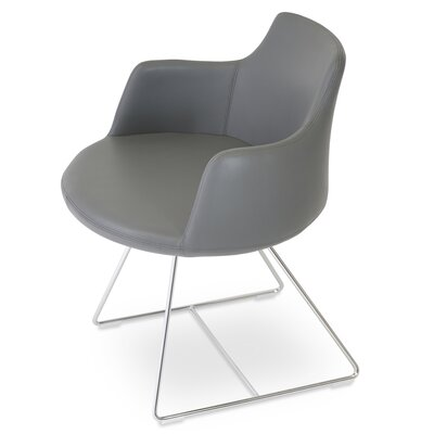 Dervish Wire Chair Upholstery: Leatherette - Gray