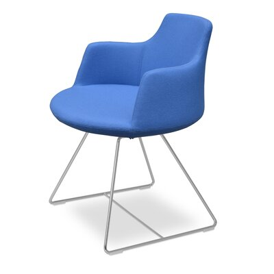 Dervish Genuine Leather Upholstered Dining Chair Color: Sky Blue