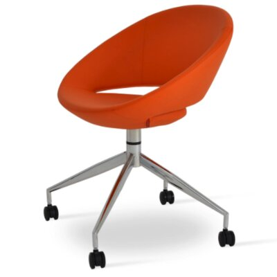 Crescent Spider Swivel Upholstered Dining Chair Color: PPM Orange
