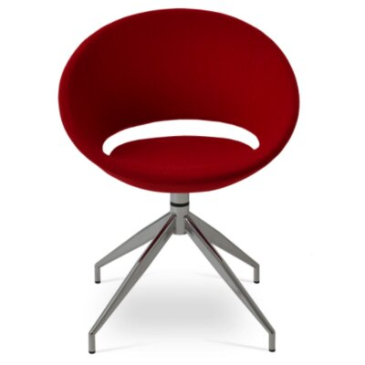 Crescent Spider Swivel Side Chair in PPM Leatherette - Red