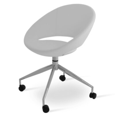 Crescent Spider Swivel Side Chair Upholstery: PPM Leatherette - White