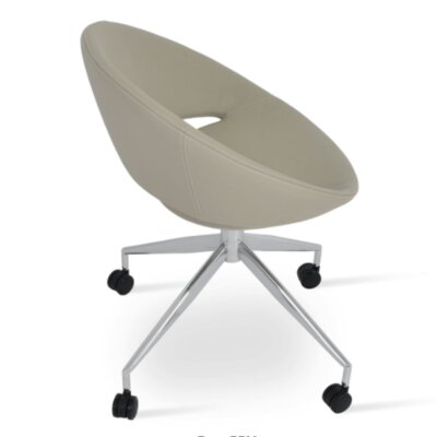 Crescent Spider Swivel Side Chair Upholstery: PPM Leatherette - Bone