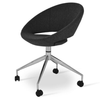 Crescent Spider Swivel Upholstered Side Chair Color: Dark Gray