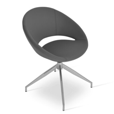 Crescent Spider Swivel Side Chair in PPM Leatherette - Gray
