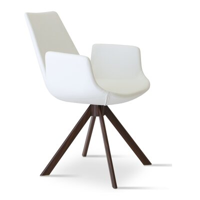 Eiffel Upholstered Dining Chair Upholstery Color: Leatherette White, Leg Color: Walnut