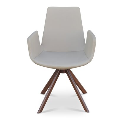 Eiffel Upholstered Dining Chair Upholstery Color: PPM White, Leg Color: Walnut