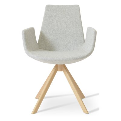 Eiffel Upholstered Dining Chair Upholstery Color: Leatherette Light Grey, Leg Color: Walnut