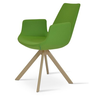 Eiffel Upholstered Dining Chair Upholstery Color: Leatherette Green, Leg Color: Natural