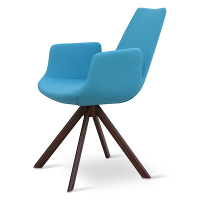 Eiffel Upholstered Dining Chair Upholstery Color: Leatherette Blue, Leg Color: Walnut