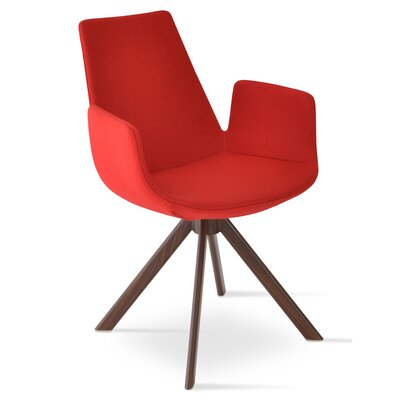 Eiffel Upholstered Dining Chair Leg Color: Walnut, Upholstery Color: Red