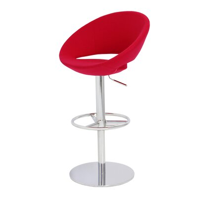 Crescent Adjustable Height Swivel Bar Stool Upholstery: Pink, Finish: Stainless Steel