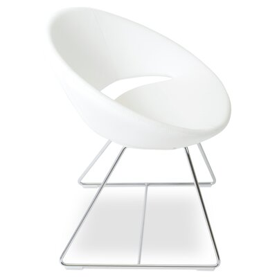 Crescent Wire Papasan Chair Upholstery: Leatherette White