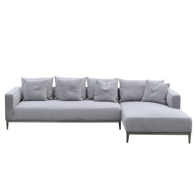 California Sectional Upholstery: Grey Tweed, Orientation: Right Hand Facing
