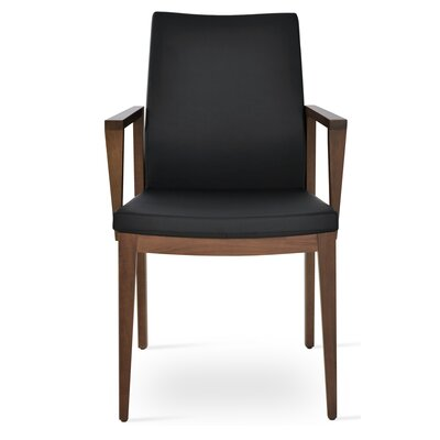 Pasha Wood Genuine Leather Upholstered Dining Chair Finish: Walnut, Upholstery Type: Leatherette- Black