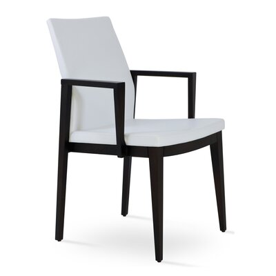 Pasha Wood Genuine Leather Upholstered Dining Chair Finish: Wenge, Upholstery Type: PPM Leatherette- White
