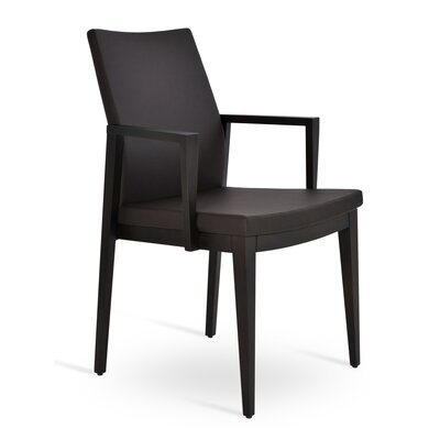 Pasha Wood Genuine Leather Upholstered Dining Chair Finish: Wenge, Upholstery Type: PPM Leatherette- Brown