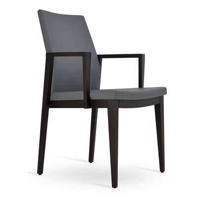 Pasha Wood Genuine Leather Upholstered Dining Chair Finish: Wenge, Upholstery Type: PPM Leatherette- Gray