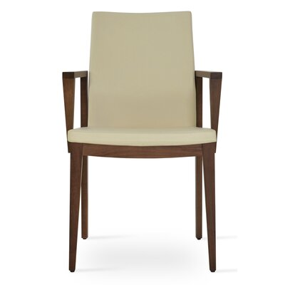 Pasha Wood Genuine Leather Upholstered Dining Chair Finish: Walnut, Upholstery Type: PPM Leatherette -Cream