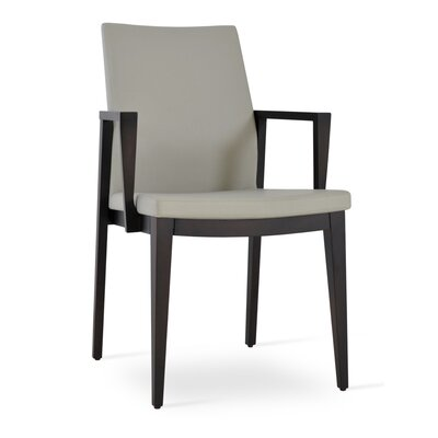 Pasha Wood Genuine Leather Upholstered Dining Chair Upholstery Type: Leatherette/ Wenge- Light Gray, Finish: Wenge