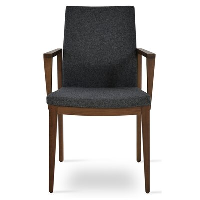 Pasha Wood Genuine Leather Upholstered Dining Chair Upholstery Type: Wool- Dark Gray , Finish: Walnut