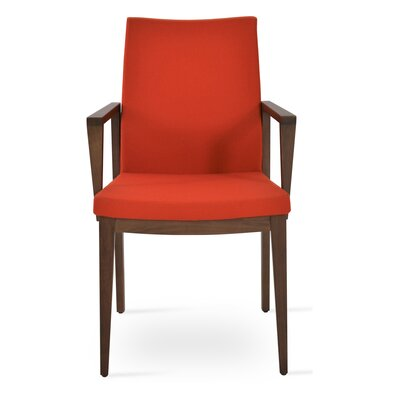 Pasha Wood Genuine Leather Upholstered Dining Chair Finish: Walnut, Upholstery Type: Wool- Orange