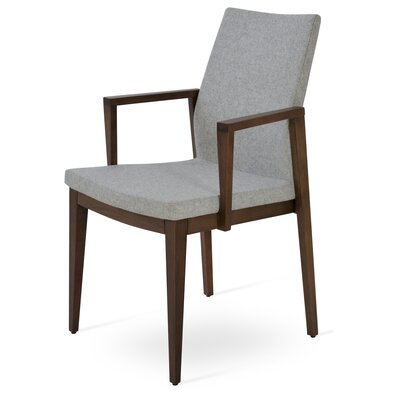 Pasha Wood Genuine Leather Upholstered Dining Chair Finish: Walnut, Upholstery Type: Wool- Silver