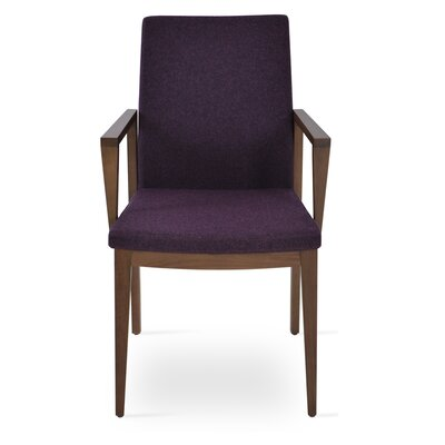 Pasha Wood Genuine Leather Upholstered Dining Chair Finish: Walnut, Upholstery Type: Wool- Deep Maroon