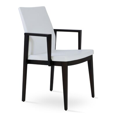 Pasha Wood Genuine Leather Upholstered Dining Chair Finish: Wenge, Upholstery Type: Leatherette White