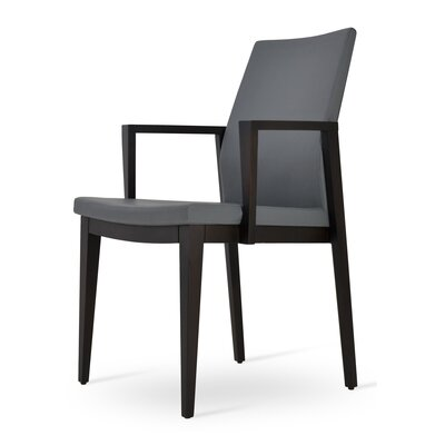 Pasha Wood Genuine Leather Upholstered Dining Chair Upholstery Type: Leatherette Gray , Finish: Wenge