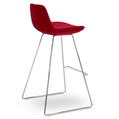 Napoli Adjustable Height Bar Stool Upholstery: Red