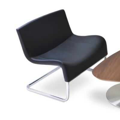 Palermo Lounge Chair Upholstery: Leather - Black
