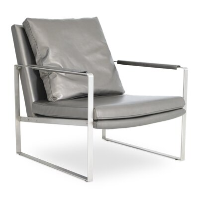 Zara Gold Armchair Upholstery: Black Leather, Frame Finish: Stainless Steel