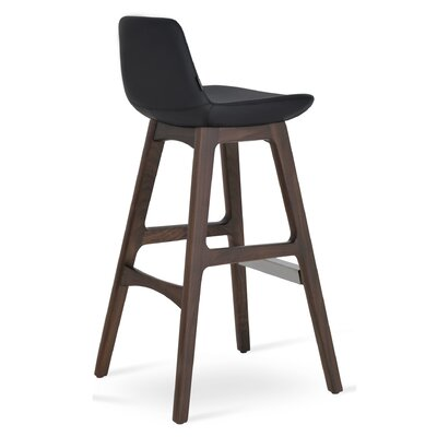 Pera 29 Bar Stool Leg Color: Beech Wood Walnut, Upholstery: Camira Wool - Sky Blue