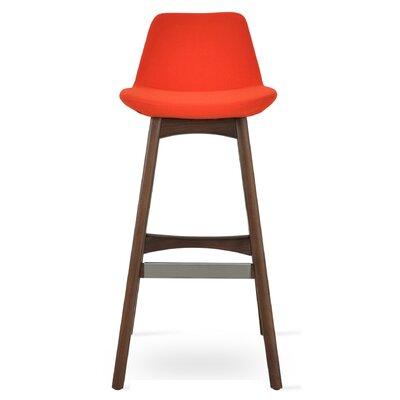Pera 24 Bar Stool Leg Color: American Walnut, Upholstery: Camira Wool-Orange