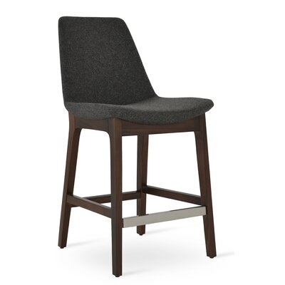 Eiffel 24 Bar Stool Leg Color: Wenge, Upholstery: Camira Wool-Dark Gray