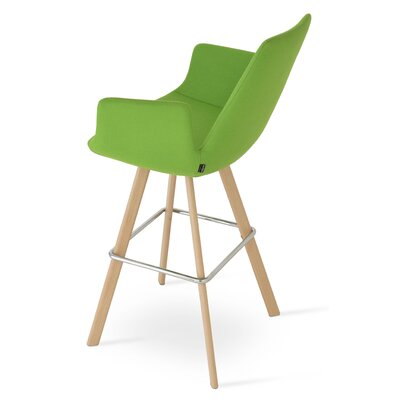 Eiffel 28 Bar Stool Leg Color: Natural, Upholstery: Camira Wool-Pistachio
