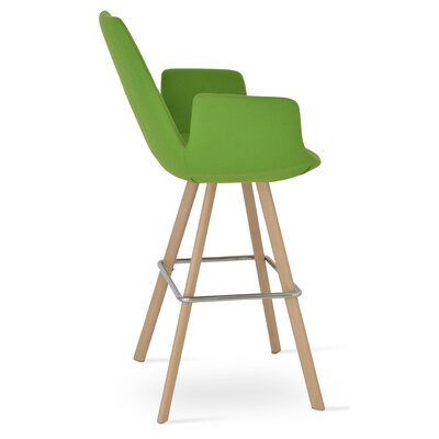 Eiffel 28 Bar Stool Leg Color: Natural, Upholstery: Camira Wool-Turquoise