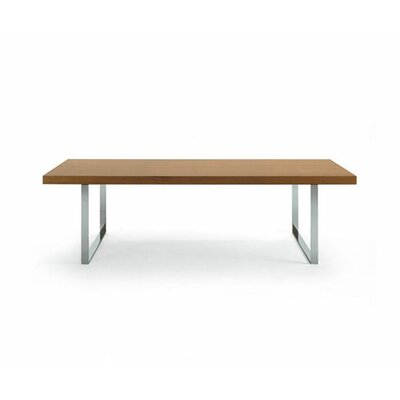 Bosphorus Dining Table Base Finish: Chrome, Top Finish: Natural