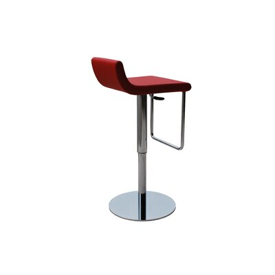Adjustable Height Swivel Bar Stool Upholstery: Red Leatherette