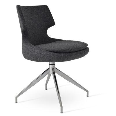 Patara Spider Side Chair Upholstery: Camira Wool - Dark Gray
