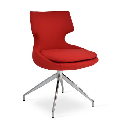 Patara Spider Upholstered Dining Chair Color: Red Wool