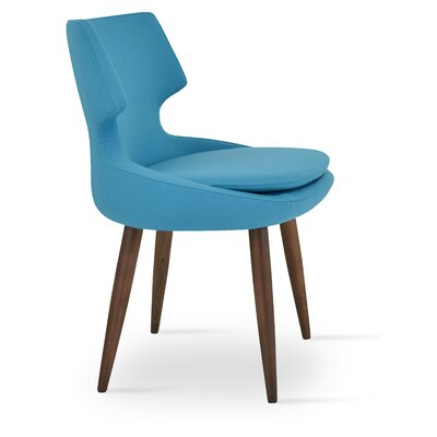 Patara Wood Side Chair Upholstery: Camira Wool - Turquoise