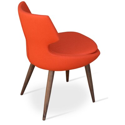Patara Wood Side Chair Upholstery: Camira Wool - Orange