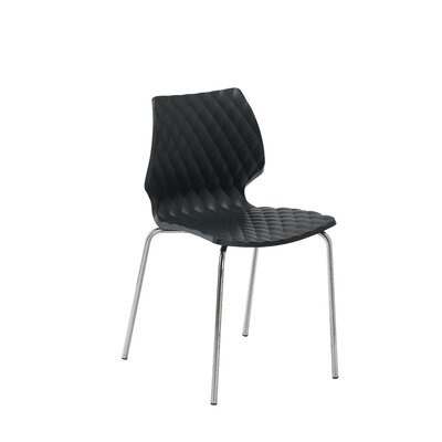 UNI-550 Side Chair Seat Finish: Black, Frame Finish: White