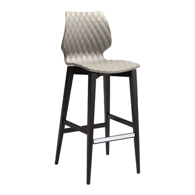 UNI-386 Bar Stool Frame Finish: Walnut, Seat Finish: Black