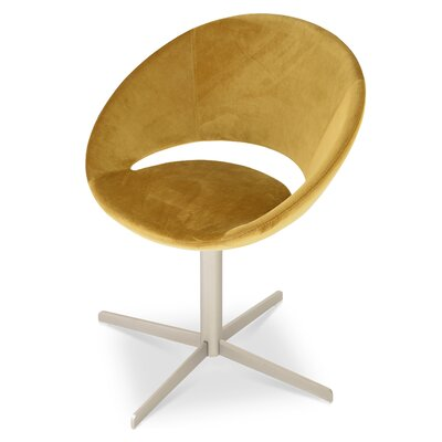 Crescent Swivel Bar Stool Leg Color: Chrome, Upholstery Color: Velvet Gold