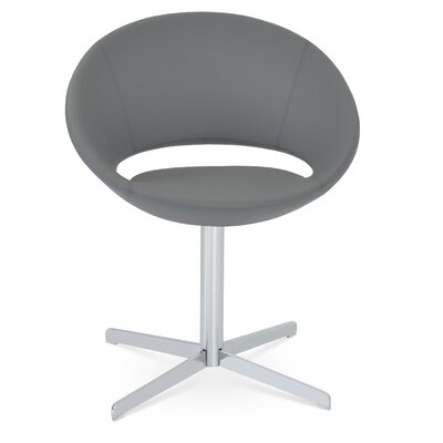 Crescent Swivel Bar stool Upholstery Color: Camira Wool Dark Grey, Leg Color: White
