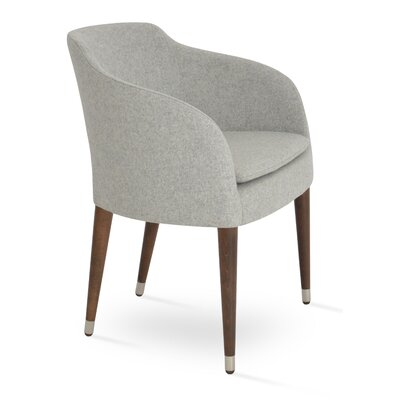 Buca Wood Armchair Upholstery: Silver